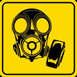 Gelbes viereckiges Schild mit Gasmaske